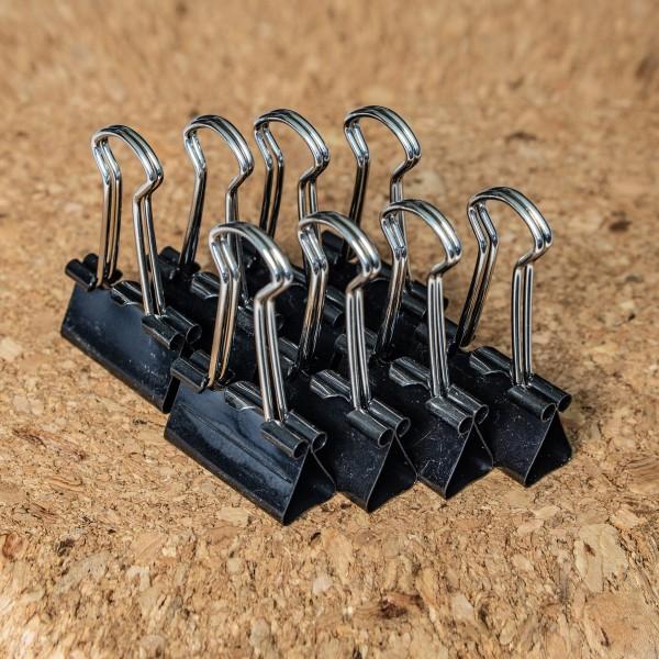 Foldbackklammern, 24 mm, Schwarz, Set mit 8 Stück