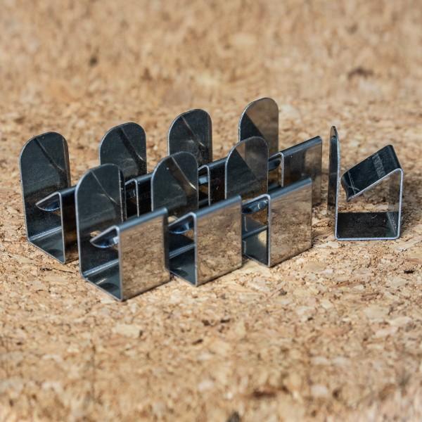 Flachklammern, Silber, Set mit 8 Stück
